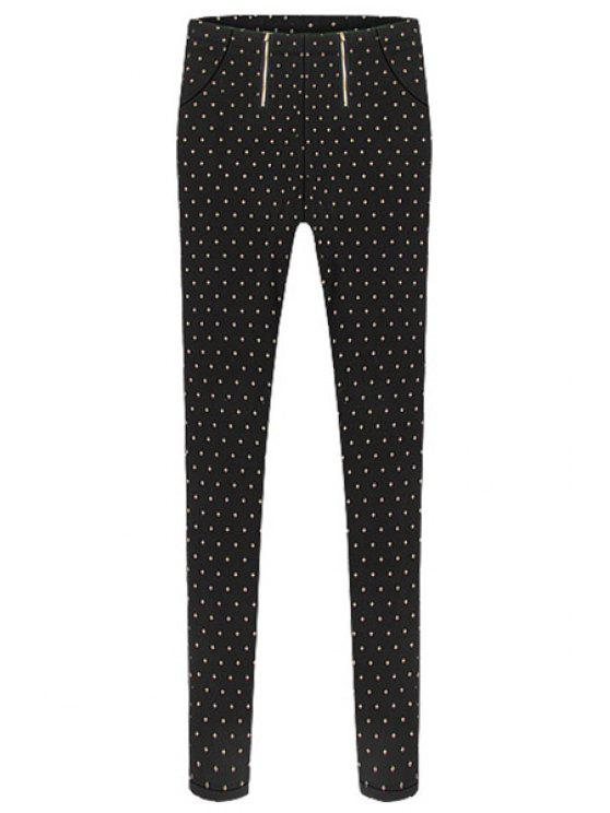 outfits Narrow Feet Polka Dot Pants - BLACK S