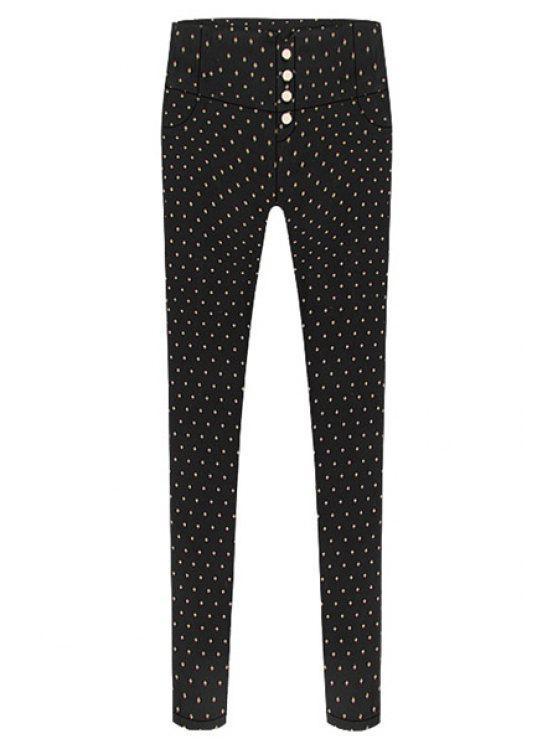 new Print Single-Breasted Skinny Pants - BLACK M