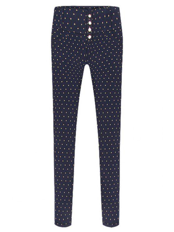 chic Print Single-Breasted Skinny Pants - SAPPHIRE BLUE 3XL