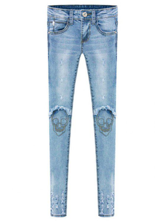 new Skull Embroidery Skinny Jeans - LIGHT BLUE 26
