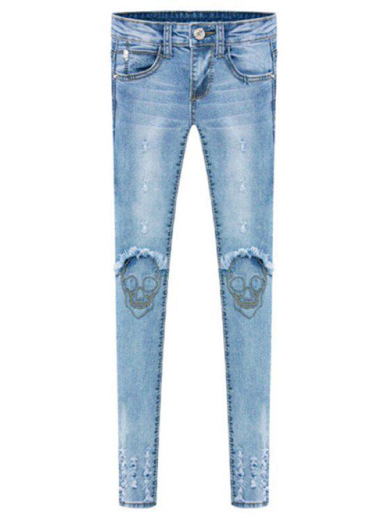new Skull Embroidery Skinny Jeans - LIGHT BLUE 26