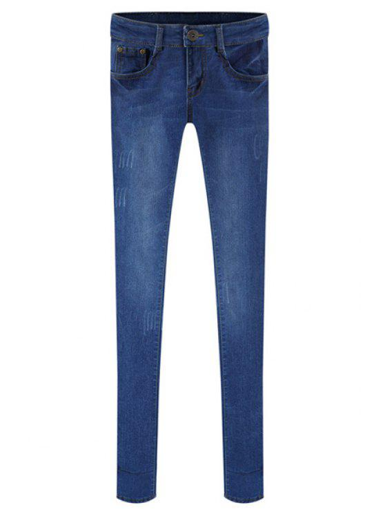 shops Blue Frayed Narrow Feet Jeans - DEEP BLUE 26