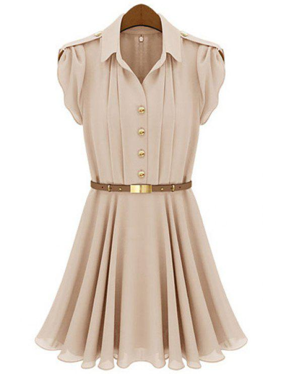 unique Solid Color Short Sleeves Dress - NUDE M