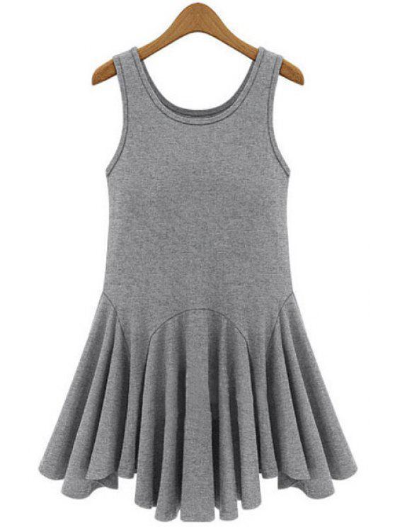 sale Black Ruffles Splicing Sundress - GRAY XL