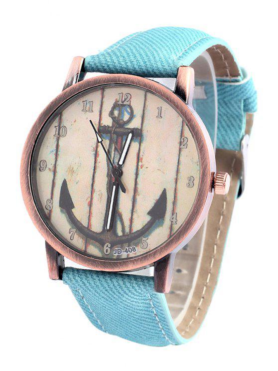 buy Vintage Anchor Pattern Watch - LIGHT BLUE