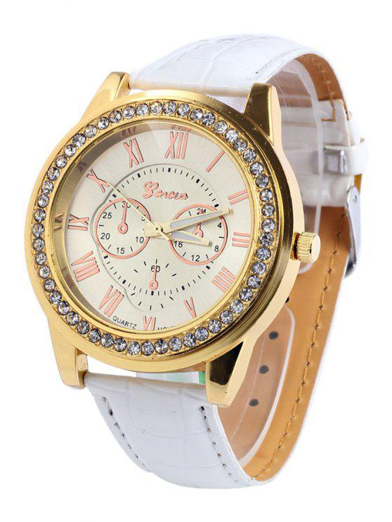 fancy Roman Numeral Rhinestoned Watch - WHITE