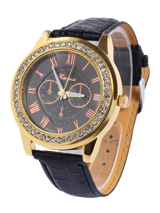 unique Roman Numeral Rhinestoned Watch - BLACK
