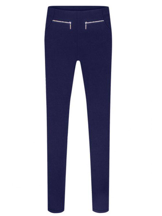 fancy Solid Color Zipper Design Pants - SAPPHIRE BLUE S