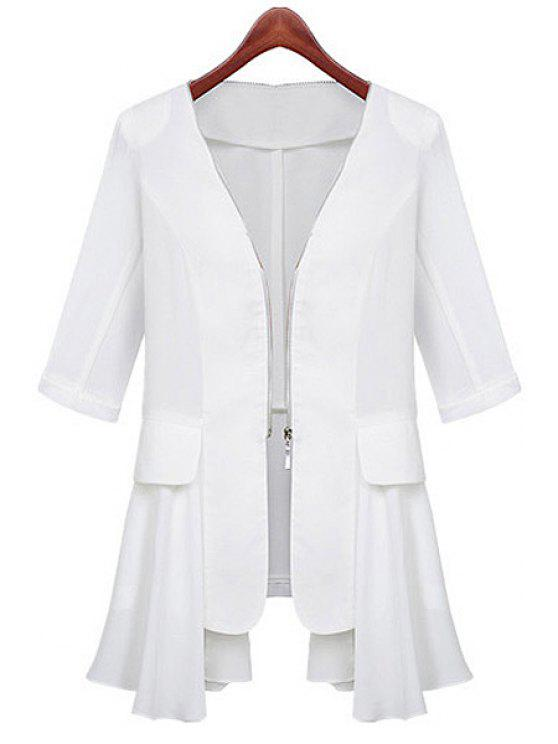 shop Half Sleeve Chiffon Splicing Coat - WHITE S