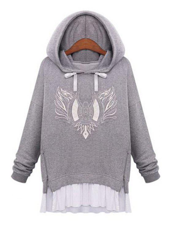 women's Embroidery Faux Twinset Design Hoodie - LIGHT GRAY L