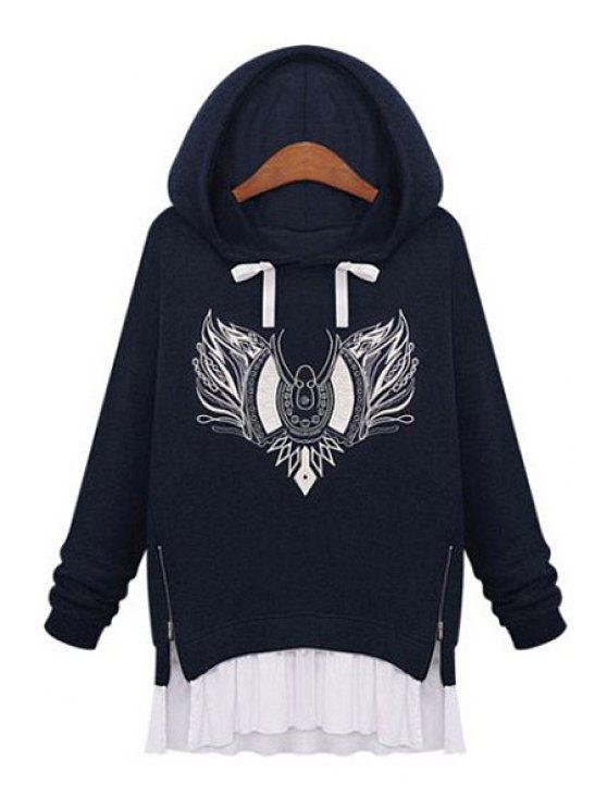 new Embroidery Faux Twinset Design Hoodie - DEEP BLUE S
