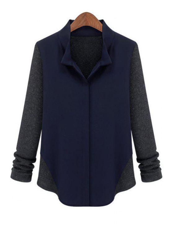hot Stand Collar Knit Splicing Shirt - CADETBLUE S