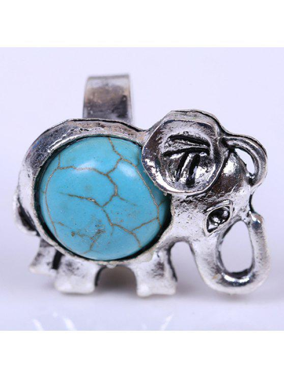 lady Sweet Kallaite Decorated Calf Elephant Ring For Women - LAKE BLUE ONE-SIZE