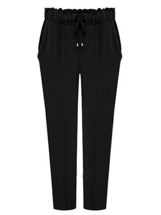 shops Drawstring Solid Color Pants - BLACK 2XL