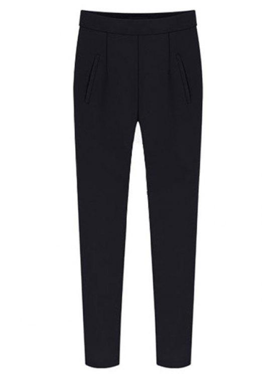 womens Solid Color Side Zipper Pants - BLACK S