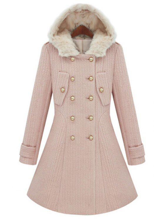 buy Solid Color Double Breasted Coat - PINK M