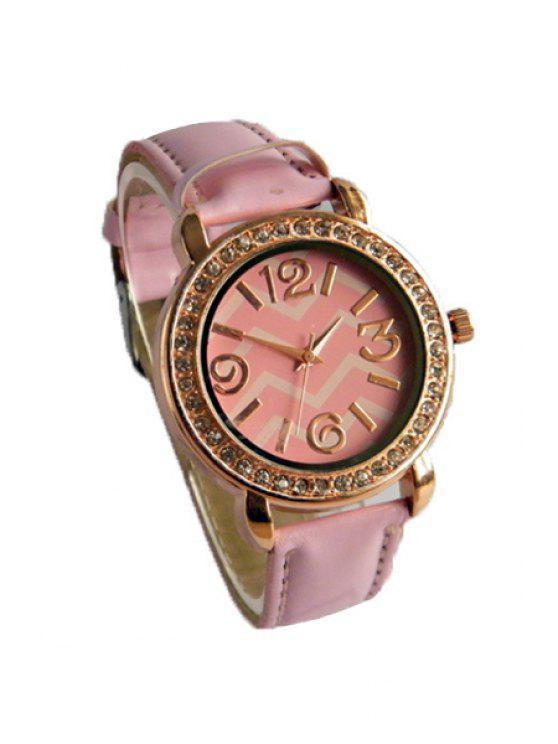 women Wave Pattern Rhinestoned Watch - PINK