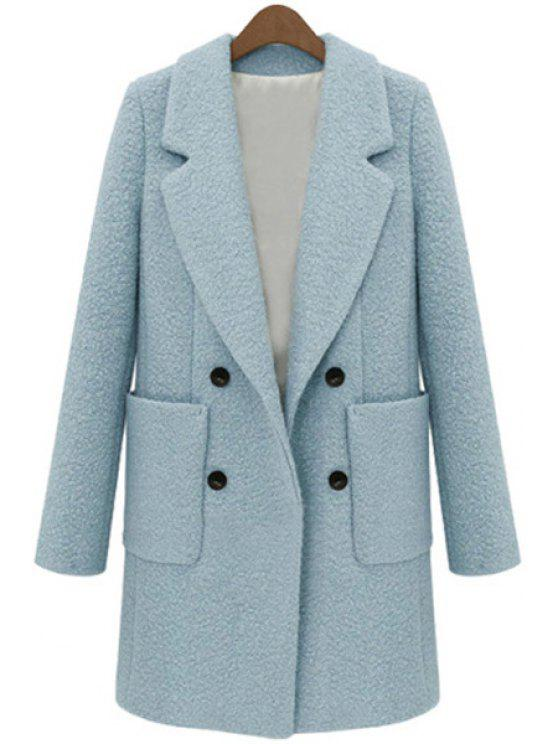 women's Double-Breasted Worsted Coat - AZURE L