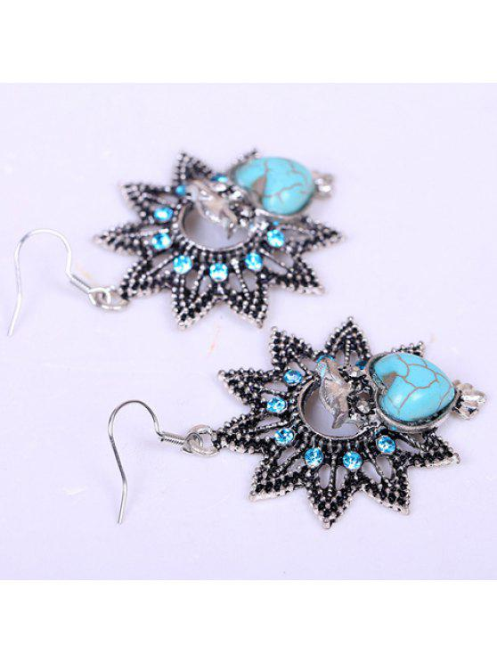 best Pair of Retro Heart-Shaped Turquoise Decorated Owl Earrings For Women - LAKE BLUE