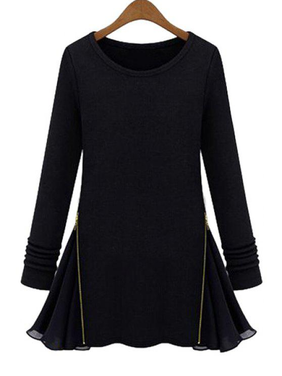 shops Chiffon Splicing Long Sleeves Knitwear - BLACK S