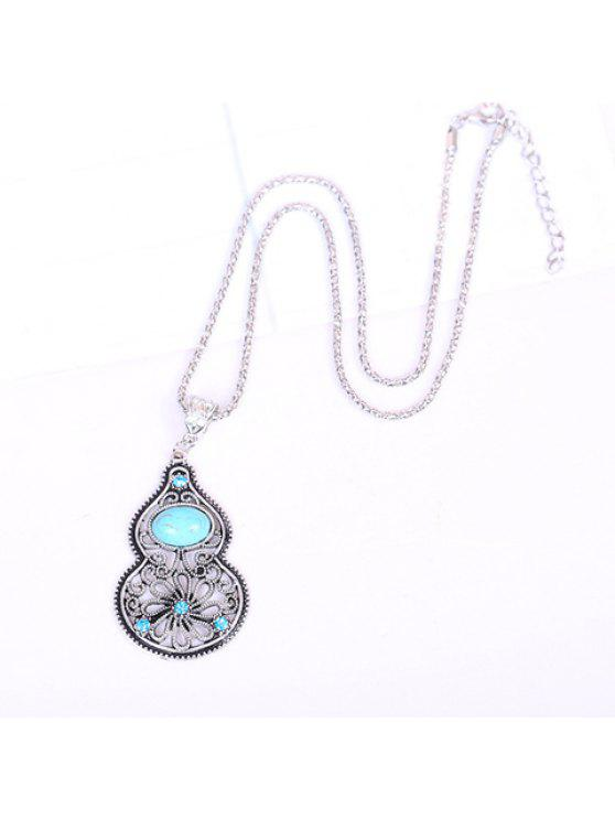 online Chic Turquoise Rhinestone Openwork Calabash Pendant Necklace For Women - LIGHT BLUE