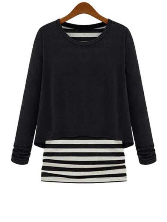 fashion Striped Splicing Faux Twinset Knitwear - BLACK S