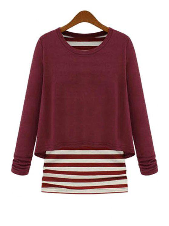 d805173f3f 33% OFF  2019 Striped Splicing Faux Twinset Knitwear In WINE RED
