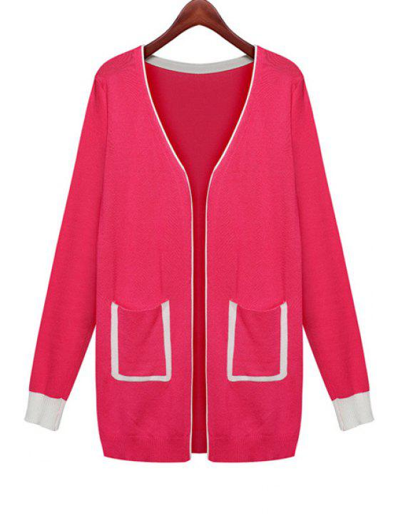 sale Color Block Pocket Cardigan - RED ONE SIZE(FIT SIZE XS TO M)