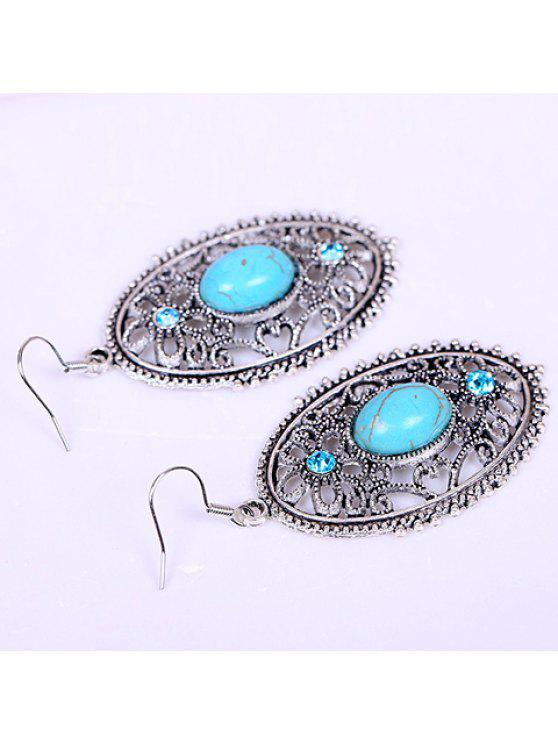 new Pair of Retro Turquoise Oval Design Drop Earrings For Women - LAKE BLUE
