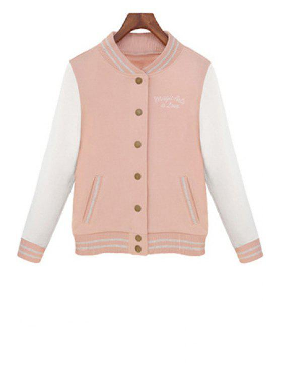 outfits Color Block Stand Neck Jacket - PINK S