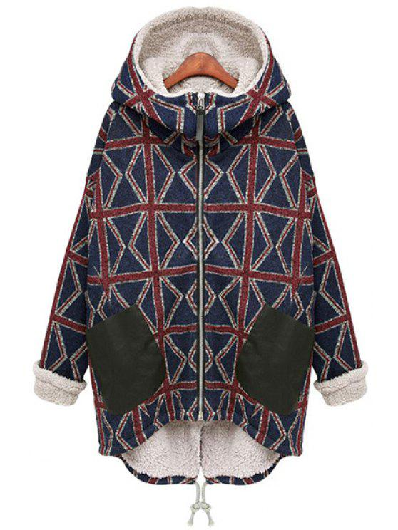 hot Hooded Geometric Pattern Coat - BLACK S