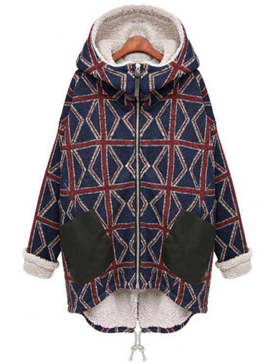 hot Hooded Geometric Pattern Coat - BLACK S