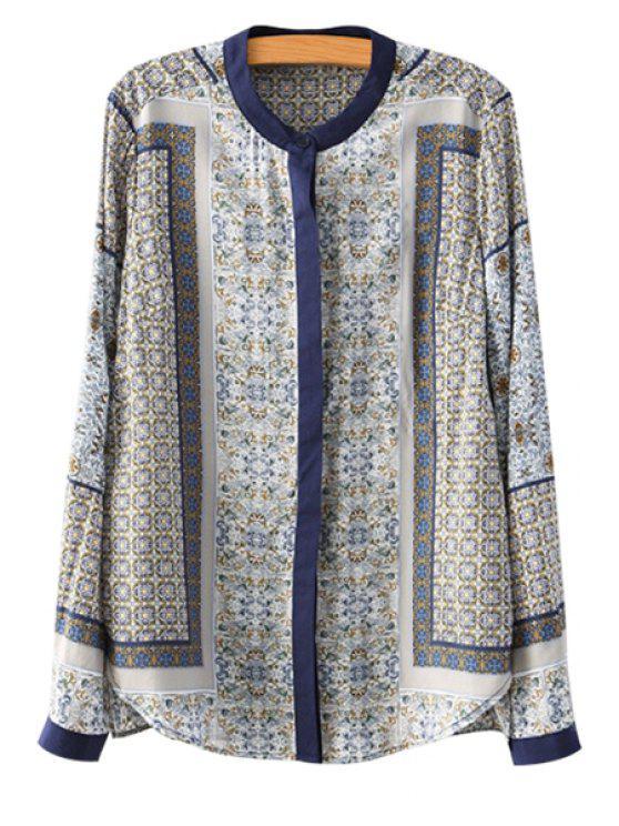 lady Stand Collar Retro Print Shirt - GRAY S