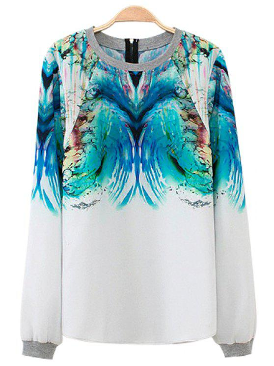hot Long Sleeve Abstract Print Sweatshirt - BLUE AND WHITE S