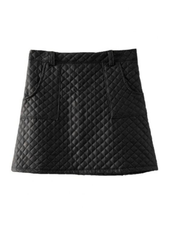 online Argyle Pattern PU Leather Skirt - BLACK S