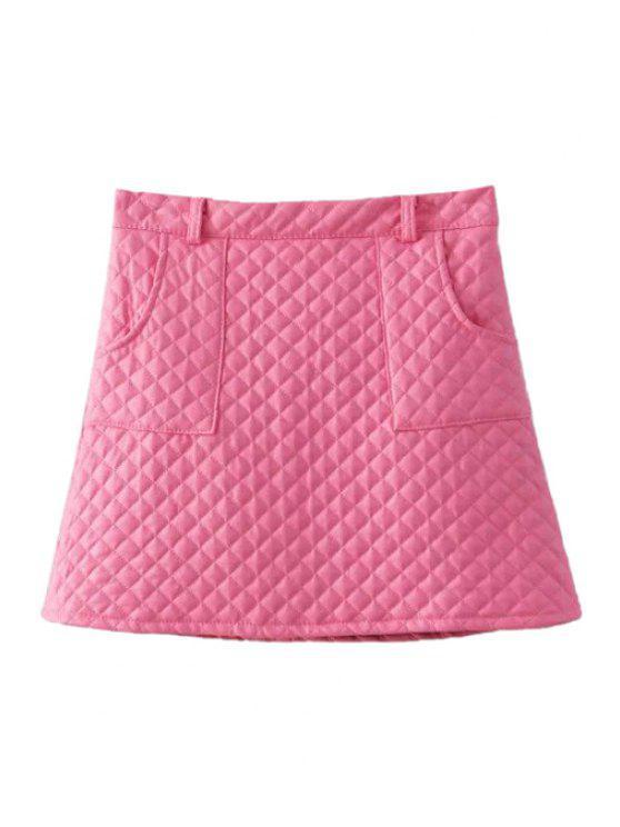 fashion Argyle Pattern PU Leather Skirt - PINK M