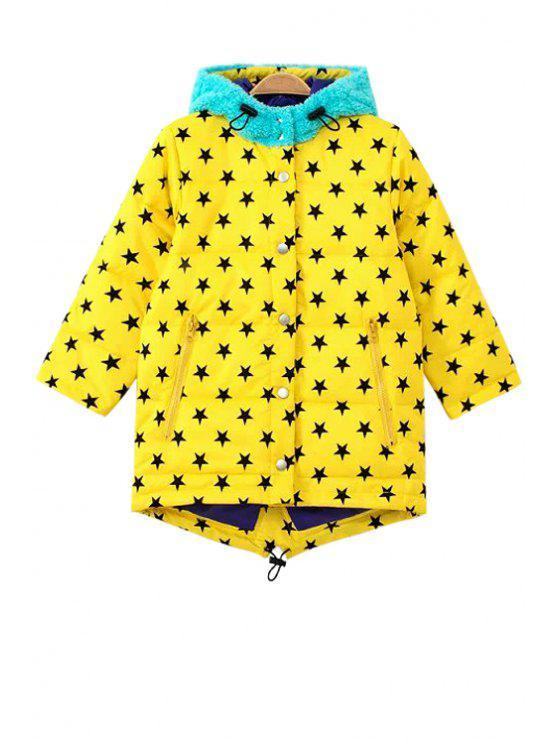 womens Star Print Long Sleeve Coat - YELLOW XS