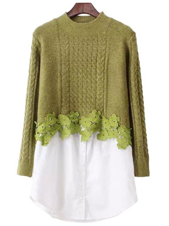 affordable Crochet Flower Splicing Sweater - GREEN ONE SIZE(FIT SIZE XS TO M)
