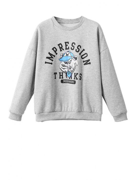 buy Letter and Cartoon Print Sweatshirt - GRAY S