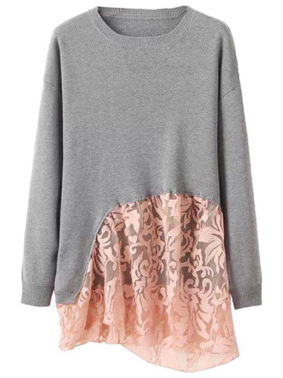 shop Long Sleeve Lace Splicing Knitwear - GRAY XS