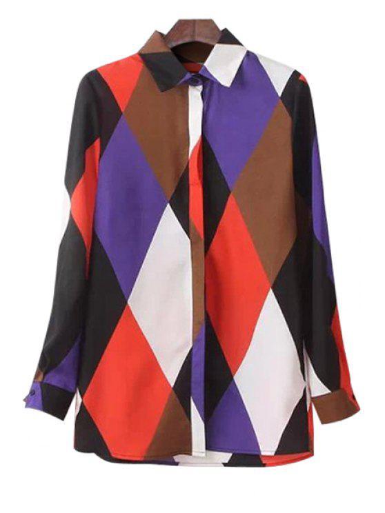 ladies Long Sleeve Argyle Print Shirt - BLACK M
