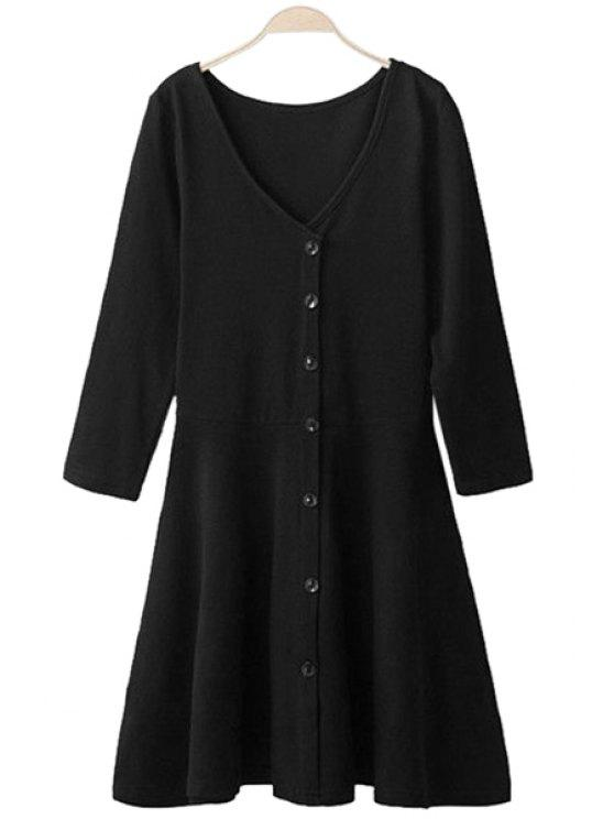 ladies 3/4 Sleeve Solid Color Dress - BLACK M