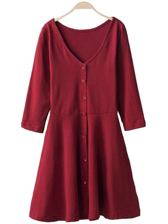 outfit 3/4 Sleeve Solid Color Dress - RED S
