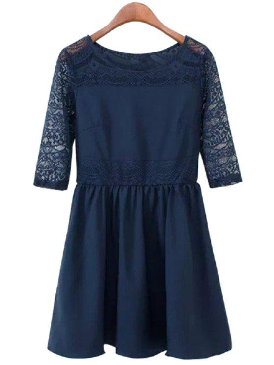 fancy Half Sleeve Lace Splicing Dress - BLUE S