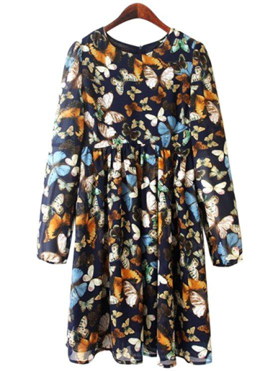 ladies Full Butterfly Print Long Sleeve Dress - PURPLISH BLUE S
