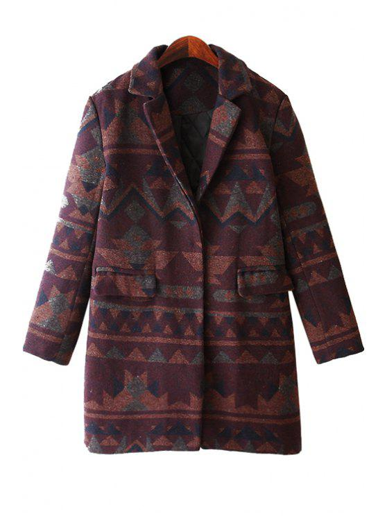 women Geometric Pattern Long Sleeve Coat - DUN ONE SIZE(FIT SIZE XS TO M)