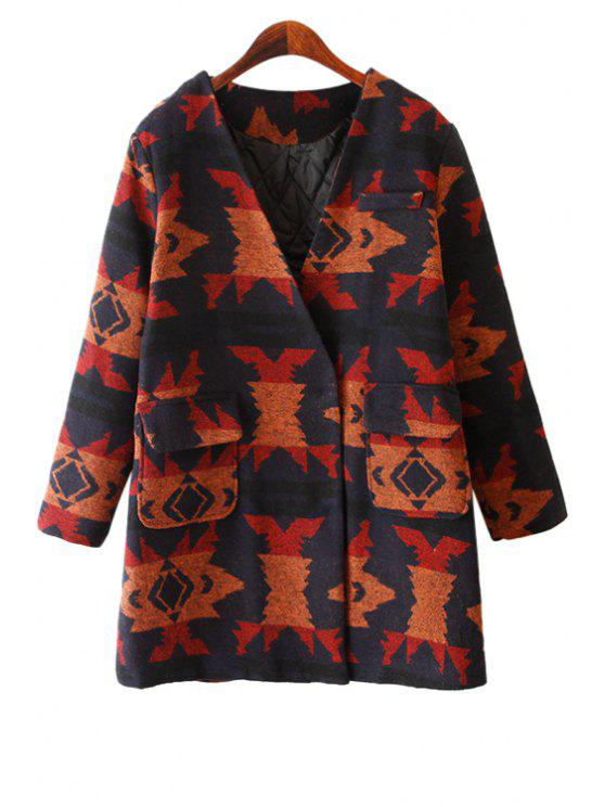 hot V-Neck Abstract Pattern Coat - JACINTH ONE SIZE(FIT SIZE XS TO M)