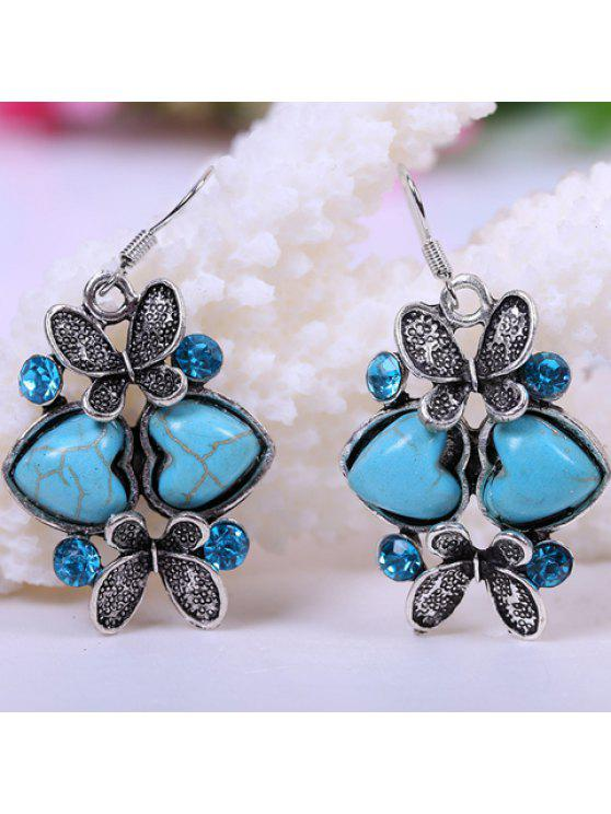 shop Pair of Sweet Heart-Shaped Turquoise Decorated Butterfly Earrings For Women - LAKE BLUE
