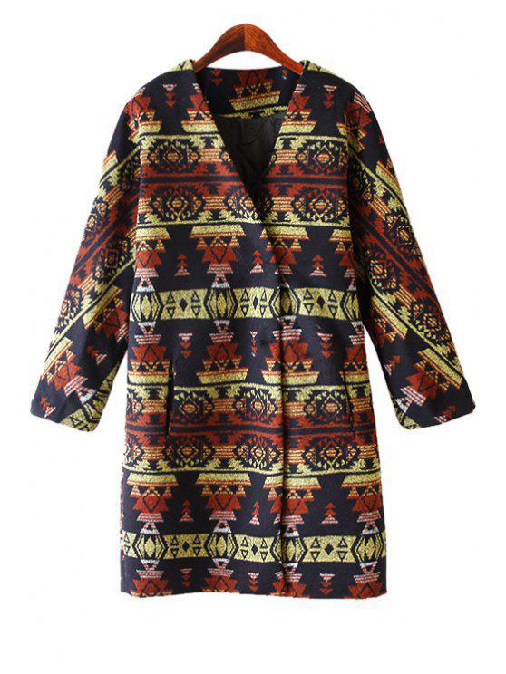 shop V-Neck Geometric Pattern Coat - DARK KHAKI ONE SIZE(FIT SIZE XS TO M)
