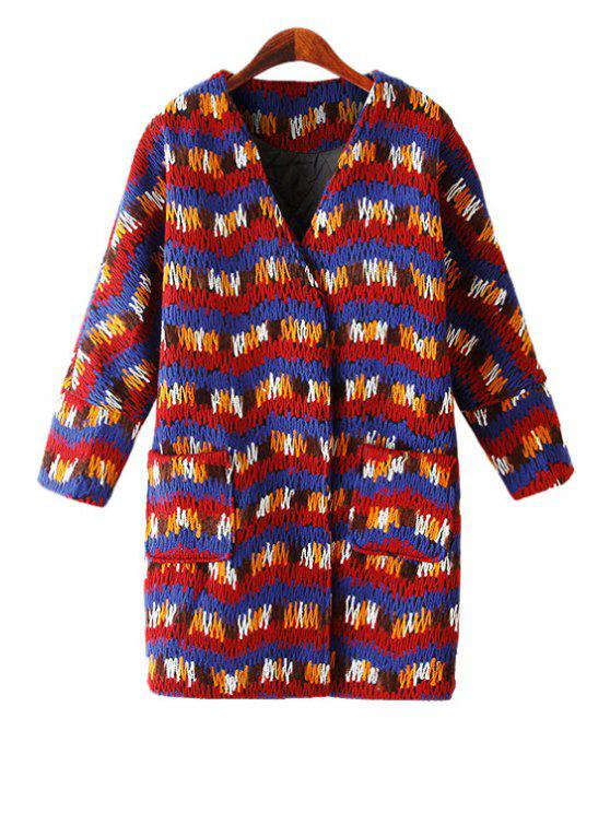 latest V-Neck Colorful Striped Knit Coat - RED ONE SIZE(FIT SIZE XS TO M)